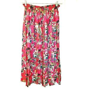 DIANE FREIS Silk Pleated Midi Skirt Vintage 80s